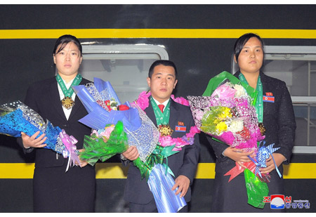 DPRK Weightlifters Back Home