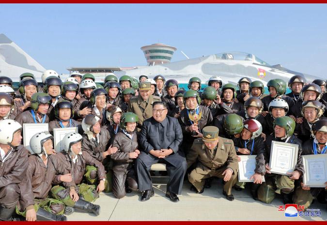Supreme Leader Kim Jong Un Watches Combat Flight Contest-2019
