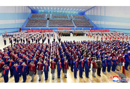 조선소년단 전국련합단체대회 진행