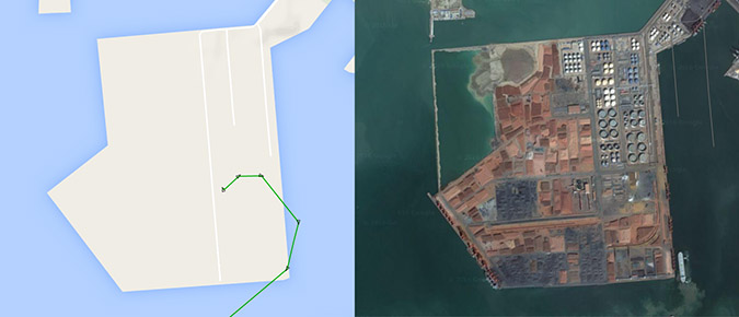 The Boun 1 in Longkou, after which it returned to Nampho. Image: Marine Traffic and Google Earth