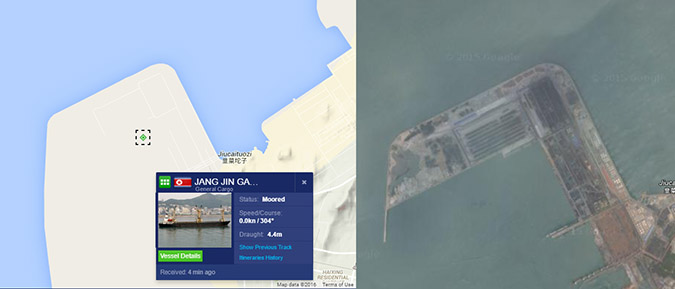The Jan Jing Gang currently in Bauyquan. Image Credit: Marine Traffic and Google Earth