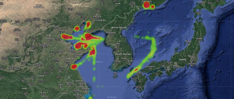 Heatmaps for 2018 show North Korean vessels' disappearing footprint at sea