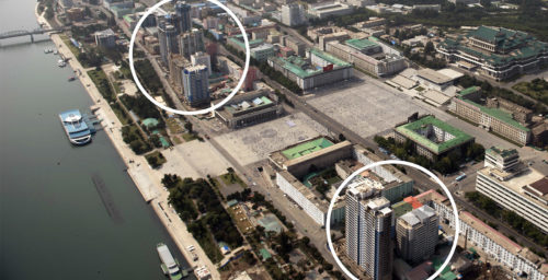 Nearly five years later, high rises near Kim Il Sung square are still unfinished