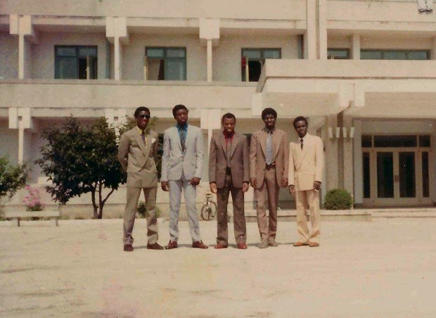 Fellow African students in front of the Wonsan campus (Left to right): Aliou (Guinea), a Zambian student, and other fellow guinean students: Nyankoy Sagno, Koleah Sylla and Raphael Loua