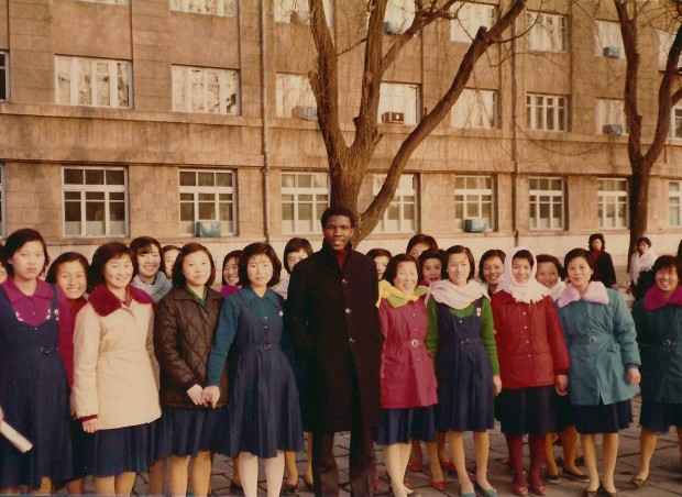 Aliou with high school girls and their teachers in Wonsan