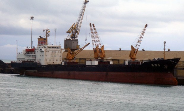 North Korean cargo ship the Taegakbong, spotted in Tuticorin, India. (Image: vesseltracker.com,  ©V. Beletsky)