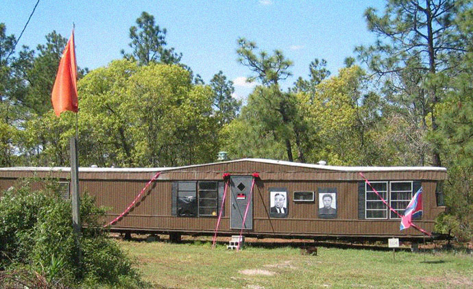 The mobile trailer home which serves as headquarters for the Rural people's party, the pro North Korean political group started by white supremacist Joshua Sutter