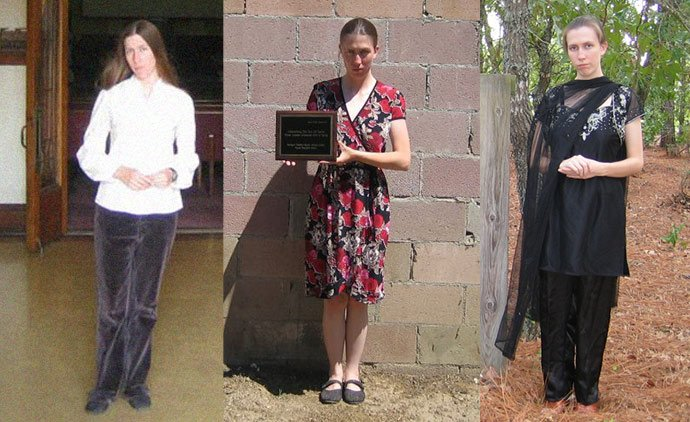 The many shades of Jillian Hoy: (L) illian Hoy in a photo  taken during a pilgrimage to visit the former church headquarters of Jim Jones's Peoples Temple in Los Angeles, (C) Hoy holds an RPP plaque devoted to Kim Jong Il and poses for a photo (R) Hoy in her guise as a Hindu preistess