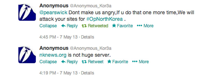 One 'official' Anonymous Korea Twitter account threatening NK News servers with a cyber attack after the publication of a North Korean cartoon.