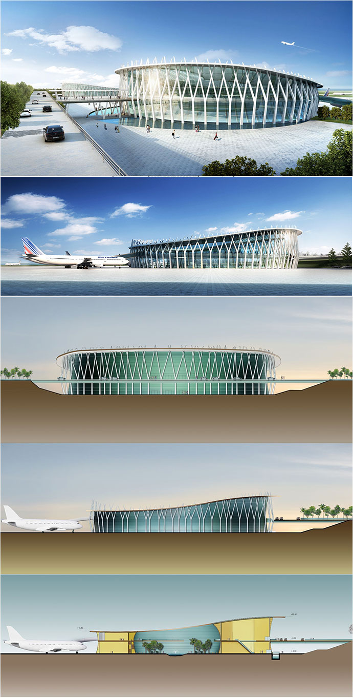 drum-style-terminals-of-wonsan-airport-artist-impressions