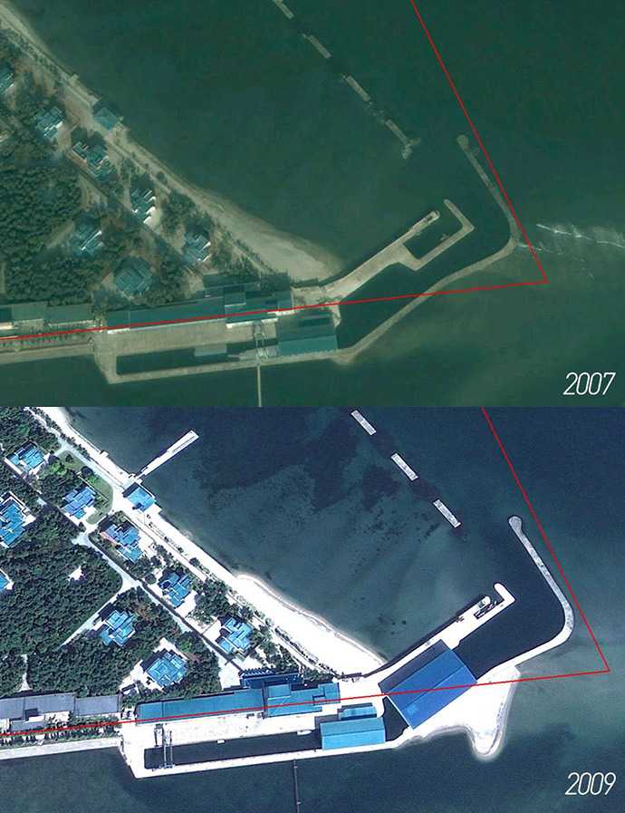 Kim family compound in Wonsan, the borders of which are highlighted in red. Top: the private boatyard in 2007. Bottom: The same location in 2009 after the construction of a larger boat shed. (Photo: Google, modified by James Pearson and Curtis Melvin, NK News).