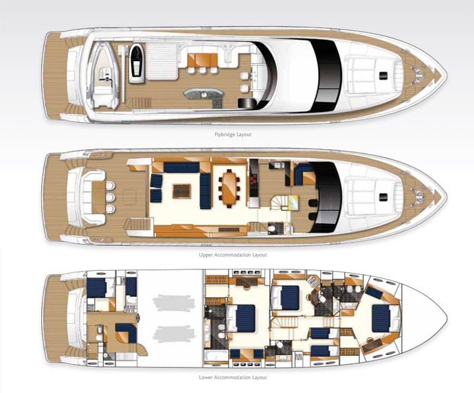 A floor plan showing the three decks of the Princess 95MY, including crew and living quarters. (Photo: Princess Yachts International).