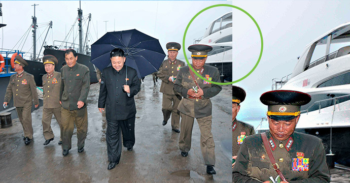 Left: original KCNA file photo of Kim Jong Un inspecting the fishery station – the yacht is circled in green. Right: an enlarged view of the yacht. (Photo: KCNA, modified by NK News).