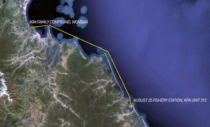 Map showing route from Kim Family Compound to August 25 Fishery Station under KPA Unit 313: 54km, 33.6m, 29.19nm. (Image: US Navy, modified by Curtis Melvin and James Pearson, NK News)