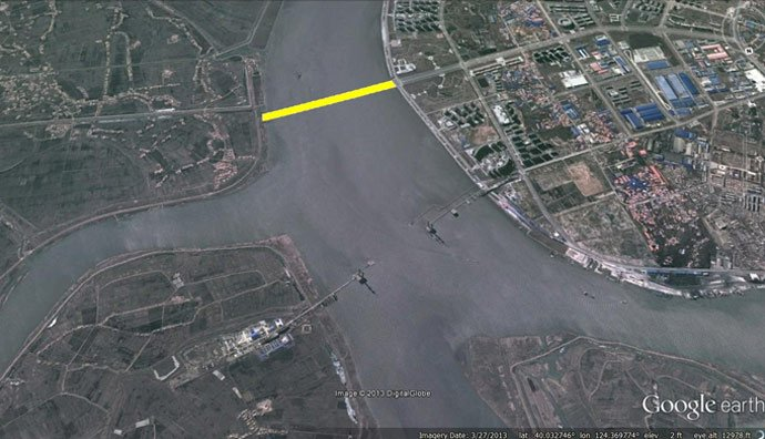 Satellite imagery showing original intended location of Yalu River bridge (Photo: Google Earth, modified by Curtis Melvin)