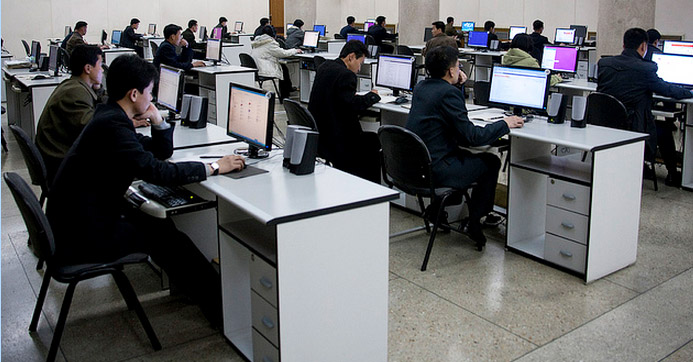North Koreans working on imported computers | Picture: Eric Lafforgue