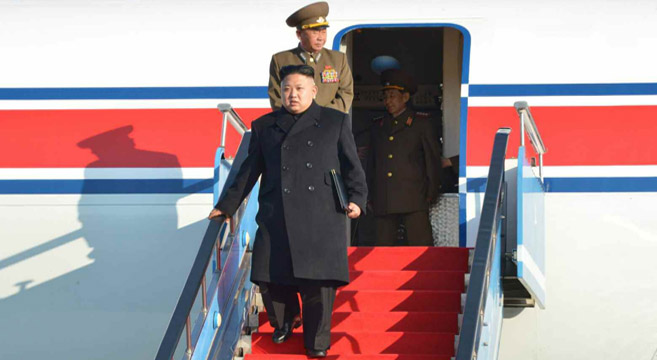 Kim shown disembarking aircraft | Picture: Rodong Sinmun