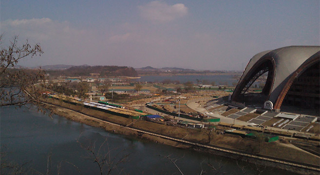 Barracks visible around perimeter of May Day Stadium | Picture: NK News