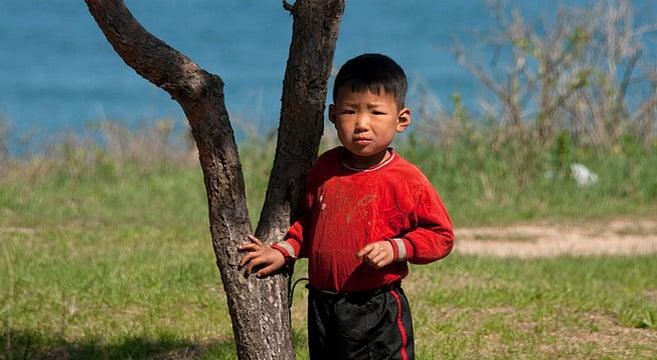 A boy near Chilbosan, North Korea   Picture: E. Lafforgue
