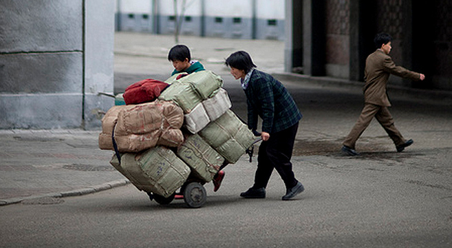Hard life in the streets of even Pyongyang   Picture: Eric Lafforgue