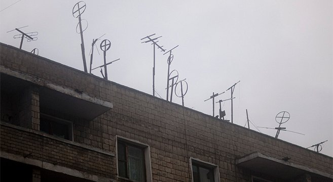 TV Antennas in North Korea that can only receive two government channels | Picture: E. Lafforgue