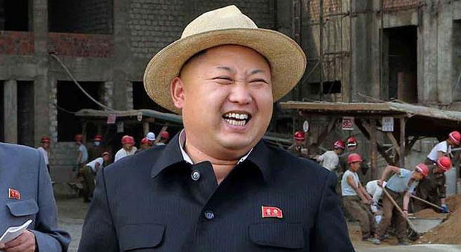 Kim Jong Un in the trademark straw-hat his grandfather wore at a similar age | Picture: Rodong Sinmun