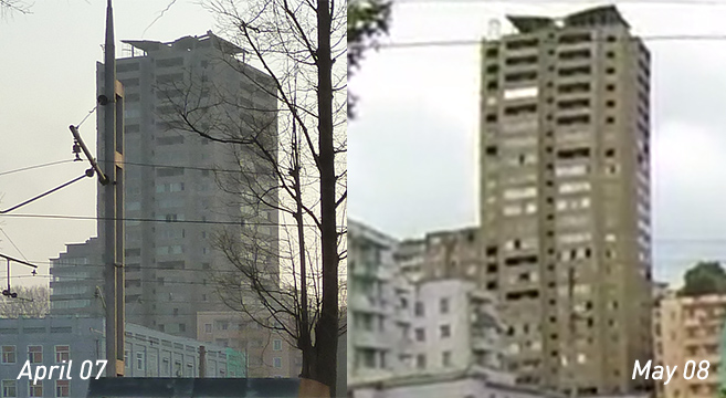 Photographs of building show little to no construction progress over one month period | Picture NK News