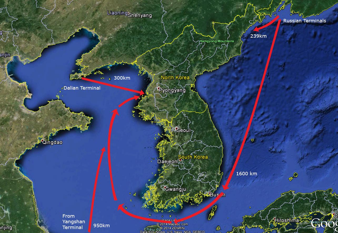 North Korea's major tanker routes. Image: Google Earth