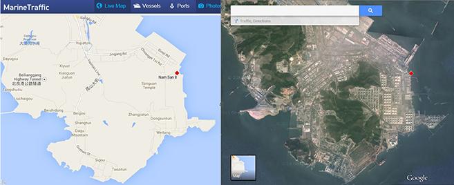 The Nam San 8 in the Dalian Oil terminal. Image: Marine Traffic, Google Earth