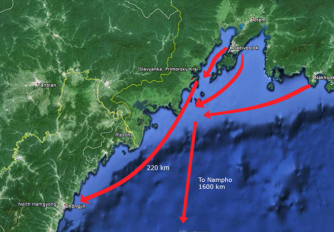 Tanker routes from Russia's Far East. Image: Google Earth