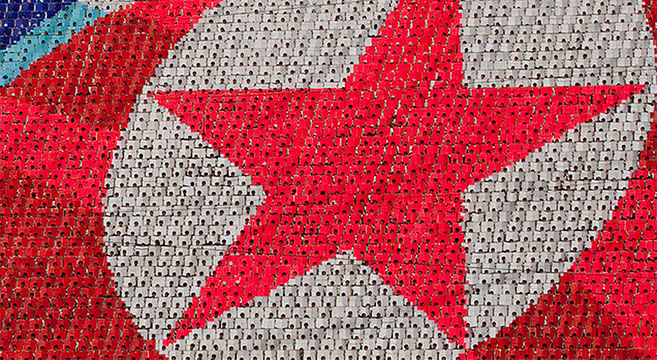 North Korea's flag, as seen at the Arirang Mass Games | Picture: E. Lafforgue