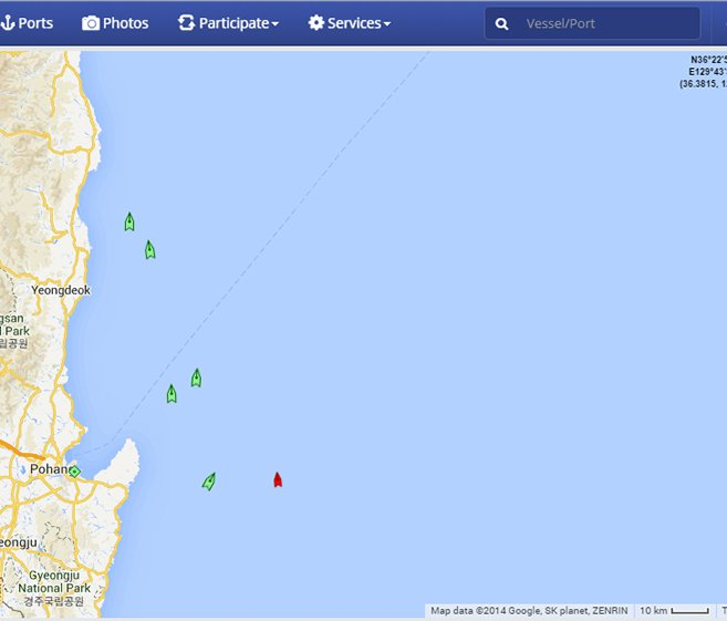 Ships sailing under FOCs passing along South Korea's east coast.