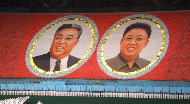 Images of Kim Il Sung and Kim Jong Il at the 2012 Arirang Mass Games | Photo: Wikimedia Commons