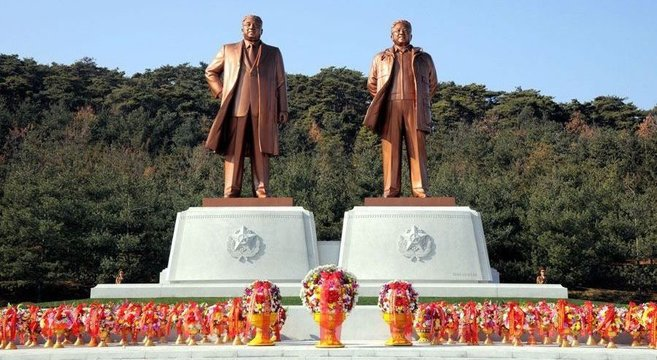 New statues of Kim Il Sung and Kim Jong Il at Security University of the DPRK | Photo: KCNA