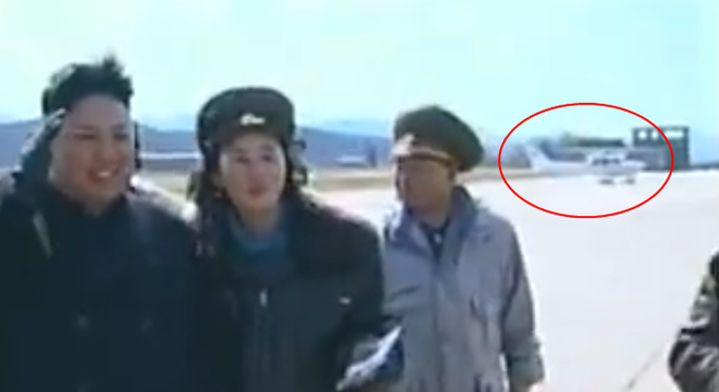 Probable Cessna on airfield behind Kim | Footage: KCTV