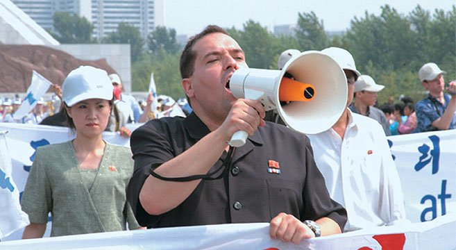 Alejandro Cao de Benos at a Pyongyang rally | Picture: NK Econwatch