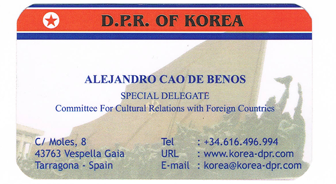 Business card of Cao de Benos | Picture: NK News