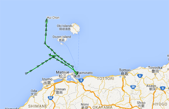 The Hui Chon's journey from March 8 to March 13. Image: Marine Traffic