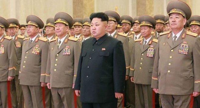 Ri Yong Gil, Hwang Pyong So, Kim Jong Un, and Hyon Yong Chol at Kumsusan Palace of the Sun, February 16 | Photo: KCNA