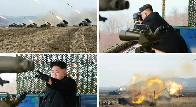 Kim Jong Un at a KPA island seizing drill | Photo: Rodong Sinmun