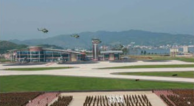New terminal building during aeronautics contest | Photo: Rodong Sinmun
