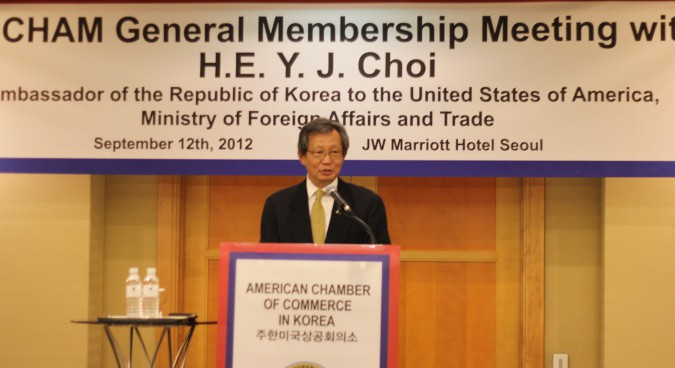 Ambassador to U.S. Discusses North Korea, KORUS FTA