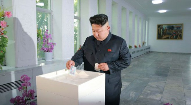 Kim Jong Un voting in local elections in Pyongyang, July 19, 2015 | Photo: KCNA