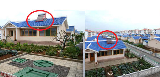 Solar panels at the newly constructed residences. Image: KCNA
