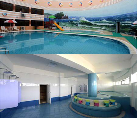 Swimming pool and spa at the farm's rural town. Image: KCNA