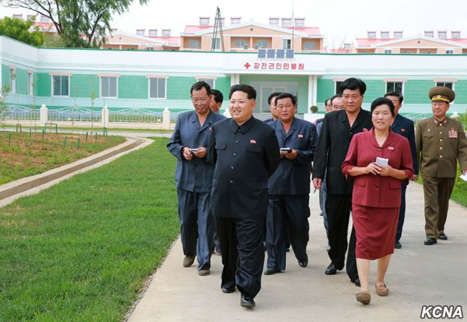 Kim Jong Un visiting the facility in June. Image: KCNA