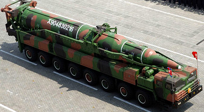 A KN-08, likely a mock-up, on parade in Pyongyang in 2012 | Photo: KCTV