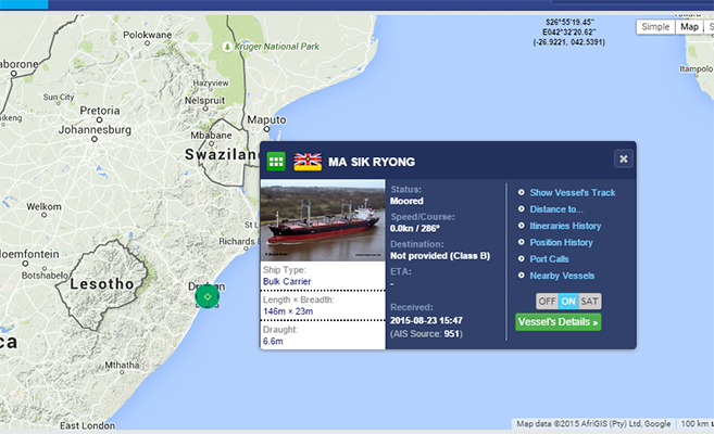 The Masik Ryong, still in Durban | Marine Traffic