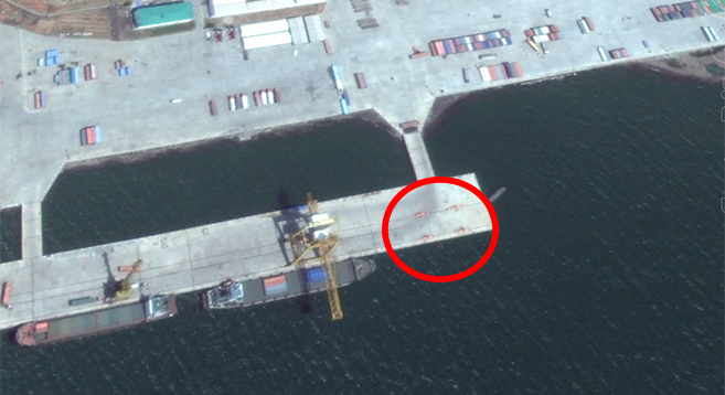 The new crane's final position. Credit: Google Earth