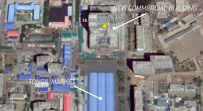 The new commercial building is adjacent to the Tongil market, in southern Pyongyang | Picture: Google Earth